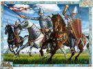 Książę Konrad I Mazowiecki (1187-1247) w eskorcie członków drużyny: z lewej ruski konny najemny drużynnik, z prawej drużynnik mazowiecki, ok.  1229 r. Był synem Kazimierza Sprawiedliwego od 1200 samodzielny książę kujawsko-mazowiecki, 1222–1228 w ziemi chełmińskiej, w latach 1229–1232 regent w Sandomierzu, 1229–1231 i 1241–1243 w Krakowie, w 1231 odłączył Sieradz i Łęczycę od księstwa krakowskiego i przyłączył do Mazowsza. Wobec nieudanych prób ujarzmienia Prusów wśród Piastów powstała koncepcja sprowadzenia na ziemię chełmińską zakonu rycerskiego, mającego zająć się wyłącznie walką z niewiernymi. Wybór padł wówczas na usuniętych z Węgier i szukających własnej siedziby Krzyżaków. Z zakonem pierwszy kontakt nawiązał Henryk Brodaty, który nie bacząc na grożące Polsce niebezpieczeństwo powtórzenia schematu węgierskiego, polecił Konradowi Krzyżaków, jako najbardziej odpowiednich kandydatów do osadzenia na pograniczu mazowiecko-pruskim. Do pierwszych poważniejszych rozmów przedstawicieli Konrada z Krzyżakami doszło na przełomie 1225/1226, jednak dopiero w 1228 później na Mazowszu pojawiło się pierwszych 3 rycerzy. W tym samym czasie doszło zapewne do formalnego przekazania ziemi chełmińskiej zakonowi. Pomimo tego, że Konrad zachował całość swoich prerogatyw książęcych to do historii przeszedł jako ten, który sprowadził Krzyżaków.