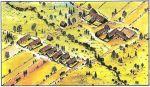 poglądowa zabudowa średniowiecznej wsi