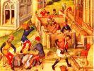 Początkowo jedynym murowanym obiektem był zamek biskupi, natomiast wszystkie pozostałe obiekty były budowane z drewna. Taki widok był więc rzadkością - Miniatura przedstawiająca budowę dwunastu kościołów ku czci apostołów; Francja,1448r.