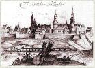 Pasłęk  1627-1628 według A. Boota. Z prawej strony zamek.
