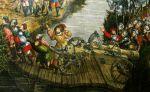 Przeprawa polskiej artylerii po improwizowanym moście pontonowym, widoczne pod deskami łodzie i beczki- fragment obrazu Bitwa pod Orszą, autor Hans Krell