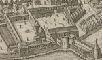 zamek biskupi w Braniewie budowany od. Ok. 1278 r. do końca XIV w. Był siedzibą b pierwszych biskupów warmińskich do 1340 r. a później burgrabiego. Zamek był zdobyty i częściowo zniszczony przez mieszczan w 1396 i 1454 r. W latach 1520-1525 był siedzibą krzyżackiego komendanta miasta. W 1526 r. na zamku ogłoszono Statuty Zygmuntowskie zmieniające dotychczasowy lubecki porządek w mieście. Fragment prospektu Stertzla z 1635 r.