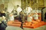 Książę Albrecht pruski po raz pierwszy przyjmuje komunię według obrządku protestanckiego w kościele katedralnym w Królewcu. Akwarela autorstwa Ludwiga Rosenfeldera z 1852 r.