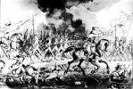 Ilustracja przedstawiająca natarcie piechoty pruskiej pod Szczekocinami w dniu 6.06.1794 r. Ta krwawa bitwa zakończyła się klęską Polaków, była jednocześnie dniem chwały generała von Favrat i braniewskiego Pułku Nr. 53.Autor Karol Linder.