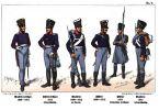 Umundurowanie armii pruskiej w umundurowaniu po reformie z 1808 r. Tak wyglądali żołnierze 4. Wschodniopruskiego Pułku Piechoty (wcześniej Pułk Piechoty Nr.16) w latach 1808-1814 tj. w trakcie pokoju, kampanii rosyjskiej 1812 oraz początku wojny wyzwoleńczej 1813. Od lewej: oficer muszkieterów (1808-1814), oficer fizylierów w umundurowaniu polowym 1813, muszkieter w umundurowaniu paradnym 1808-1812, fizylier 1808-1812, fizylier w umundurowaniu polowym i w płaszczu 1812 oraz muszkieter w umundurowaniu polowym z 1813 r.