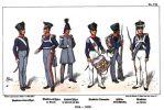 Umundurowanie armii pruskiej w umundurowaniu w latach 1814-1816. Tak wyglądali żołnierze 4. Wschodniopruskiego Pułku Piechoty (wcześniej Pułk Piechoty Nr.16) podczas w wojny wyzwoleńczej 1813-1814 i kampanii 1815 oraz okupacji Francji w1815-1816. Od lewej: podoficer muszkieterów, oficer muszkieterów w stroju paradnym, oficer sztabowy, dobosz muszkieterów, fizylier w umundurowaniu polowym oraz muszkieter w mundurze paradnym.
