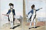 """oficerowie angielskiej marynarki pod koniec XVIII wieku. Od lewej: kapitan marynarki (1795) i porucznik marynarki (1799). Podczas działań na Zalewie Wiślanym przez kilkanaście dni flotyllą pruską dowodził por. Oldfield I oficer slupa """"Falcon"""". Rys. Rowlandson."""