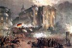 Rewolucja marcowa 1848 w Berlinie. Na ilustracji walki na Alexanderplatz. Walki w Berlinie trwały w dniach 13-20.03.1848 r. Rewolucja marcowa stała się początkiem Wiosny Ludów w Europie.