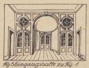 Hol wejściowy (sień) pałacu w Lipowinie. Rys. Richard Detlefsen (1864-1944) królewski radca budowalny i konserwator zabytków