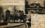 pocztówka z Lipowiny z początku XX w. przedstawiająca kościół i pałac