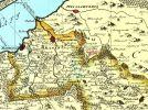 fragment mapy biskupstwa warmińskiego wykonanej na zamówienie biskupa Adama Grabowskiego w 1755 r., której autorem jest kartograf i sztycharz z Elbląga Jan Fryderyk Endersch (1705-1796)