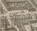 fragment planu Pawła Stertzla z 1635 r. wykonanego dla Szwedów planu Starego Miasta Braniewa. Widoczny od tyłu Dwór Artusa przy ulicy Langgasse i 1. Kirchenstrasse. Na dziedzińcu przed Dworem, a obok Ratusza odbywały się słynne turnieje rycerskie.
