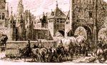 Brama Wysoka była główną i reprezentacyjną bramą miejską znajdująca się na trasie Elbląg – Królewiec. To tędy wjeżdżali do miasta liczni dostojnicy, ale również kupcy. Tak to mogło wyglądać w średniowieczu, gdyż ilustracja przedstawia główną bramę wjazdową do Lubeki ok. 1400r.