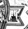 Prawie jak w starym Braniewie. Ilustracja ukazuje fragment murów i fortyfikacji łudząco podobnych do tych na planie Stertzela z 1635 r. Podobieństwo to: podwójny mur obronny, literka H przy wieży, co może wskazywać na Hohe Tor (choć jej wygląd odbiega od tego znanaego), kształt fortyfikacji ziemnych tzw. Hornwerk, most na fosie. Różnice: nie ma stojącej w fosie Wieży Węglowej, nie powinno być kościoła w obrębie fortyfikacji ziemnych, gdyż braniewski kościół św. Jana został spalony w 1626 r. i ostatecznie rozebrany w latach 1633-1634 właśnie podczas budowy fortyfikacji ziemnych, wieża u góry ilustracji (jeżeli to Katowska powinna być w wewnętrznej linii murów, a jeżeli Młyna Kieratowego od niej powinien zaczynać się mur podwójny). W stosunku do planu Stertzela, który ukazuje Braniewo od strony południowej, jest to widok od północy
