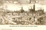 Panorama Braniewa z 1684 r. Christopfa Hartknocha. Autor ten wykonał wiele podobnych ilustracji, jednak w tym konkretnym przypadku trudno zidentyfikować widoczne na ilustracji budowle obronne.