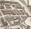 Fragment planu Stertzela z 1635r. z widocznymi murami i budowlami obronnymi