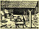 Rycina przedstawiająca pracę w średniowiecznej