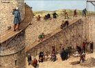 Tak to mogło wyglądać w średniowieczu w Braniewie. Na ilustracji budowa muru obronnego i wieży.