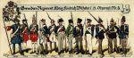 Żołnierze istniejącego od 1685r. pułku piechoty ostatecznie nazwanego Grenadier-Regiment König Fridrich Wilhelm I. (2. Ostpreussisches) Nr. 3 na przestrzeni lat 1685-1902. Widać jak zmieniało się umundurowanie i uzbrojenie oddziału.