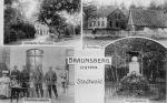 pocztówka z początku XX wieku. Las Miejski- w dolnym lewym rogu wartownia przy strzelnicy z żołnierzami 3 Pułku Grenadierów, obok pomnik poświęcony jegrom poległym w wojnie prusko-austriackiej w 1866r.
