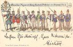 Pocztówka przedstawiająca żołnierzy pułku piechoty ostatecznie nazwanego Grenadier-Regiment König Fridrich Wilhelm I. (2. Ostpreussisches) Nr. 3 na przestrzeni lat 1685-1902. Pocztówkę udostępnił dla Muzeum Ziemi Braniewskiej pan Piotr Gursztyn.