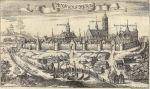 znana panorama Krzysztofa Hartknocha z 1684 r. Na pierwszym planie port, w którym mieściły się karczmy portowe. Dwie karczmy Górna i Dolna znajdowały się mniej więcej przy wjazdach do Starego Miasta po obu stronach panoramy.