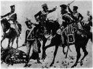 Scenka przedstawiająca Czarnego Huzara otoczonego przez francuską jazdę po walce oddziału plut. Giese na braniewskim moście. Pruski huzar woli zginąć niż oddać się w niewolę.