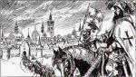 Grafika nieznanego autora przedstawiająca wymarsz chorągwi braniewskiej z miasta