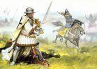 Litewski konny łucznik ostrzeliwuje krzyżackiego rycerza. Rys. A. McBride
