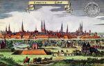 Lubeka główne miasto Hanzy w okresie przynależności do Związku Hanzeatyckiego. W górnym rogu pieczęć Lubeki z 1280 r. Stąd pochodzili pierwsi osadnicy braniewscy, w tym Jan Fleming pierwszy sołtys oraz jego brat biskup warmiński Henryk Fleming.