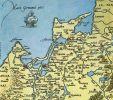 fragment mapy Prus z 1542 r. zwraca uwagę wygląd mierzei wiślanej z cieśniną piławską