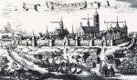 Panorama z 1684 r. Krzysztofa Hartknocha przedstawiająca Braniewo od strony południowej. Widoczne zacumowane na Pasłęce statki i łodzie oraz prace stoczniowe na nabrzeżu. Widoczne budynki to zapewne spichlerze i szopy magazynowe.