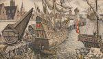 port gdański w średniowieczu, na pierwszym planie rozładunek kogi