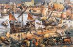 duży port hanzeatycki w średniowieczu podczas pracy