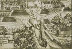 fragment panoramy Elbląga z 1684 r. K. Hartknocha. Statek wpływa do portu