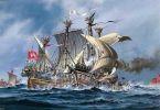 """Bitwa pod morska pod Helgolandem 1401 r., starcie Łaciatej Krowy"""" (Bunte Kuh) z statkiem piratów."""