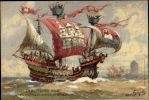 Reprodukcja obrazu Hansa Bohrdta -Die Bunte Huh (Łaciata Krowa)- stary hanzeatycki okręt wojenny