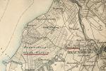 """mapa z 1893 r. z zaznaczonym Huntenbergiem, czyli dzisiejszym Podgórzem. Braunsberger Stadwiesen - dosłownie """"braniewskie łąki miejskie"""" - to łąki i las nazywany w przeszłości również: Harzau, Herzau, Holzmorgen, Hohen Holz a współcześnie Klejnowskie Bagno – teren przynależny do Starego Miasta Braniewo, o które spór toczyły podmiejskie folwarki a zwłaszcza właściciele Huntenberga"""