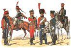 4 Pułk Huzarów. Od lewej- huzar ok. 1792 r., huzar 1790-92 r., trębacz 1804-05 r., huzar kompanii wyborczej 1806 r., huzar kompanii centralnej 1806 - 07 r., trębacz kompanii centralnej ok. 1807 r. Mal. L. Rousselot.