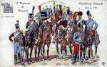 Tak zmieniało się umundurowanie i wyposażenie francuskiego 2 pułku huzarów od 1786 do 1912 roku. Inna znana nazwa oddziału o nazwiska pierwszego dowódcy to Chamborant Hussards, czy od umundurowania Brązowi Bracia.