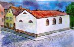 """w 1855 r. w Braniewie przy ulicy otworzono synagogę do której uczęszczali braniewscy Żydzi. Została ona zniszczona w 1938 r. przez hitlerowców podczas tzw. """"nocy kryształowej"""". Doktor Jacob Jacobson był na pewno najwybitniejszą osobistością wśród braniewskich Żydów i na pewno częstym gościem synagogi, bowiem mieszkał nie daleko. Rysunek autorstwa Braniewskiego artysty Andrzeja Zielińskiego"""