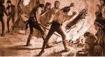 ilustracja przedstawiająca walkę z epidemią cholery w XIX-wiecznych Prusach. Powszechnie wierzono, że epidemia roznosi się w powietrzu. Dopiero pod koniec XIX w. niemiecki naukowiec Robert Koch odkrył, że choroba roznoszona jest poprzez spożycie skażonej żywności i wody