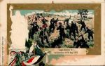 Pocztówka przedstawiająca udział 1 wschodniopruskiego batalionu jegrów w bitwie pod Colombey w dniu 14.08.1870r.