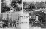 Pocztówka z 1910r. Na dole po lewej wartownia strzelnicy, którą wybudowali jegrzy z 1batalionu oraz pomnik poległych w wojnie 1866r. na zdjęciu prawdopodobnie żołnierze batalionu fizylierów z 3 Pułku Grenadierów Króla Fryderyka Wilhelma I .