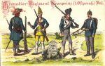 W latach 1819-1821 i 1826-1828 w Braniewie stacjonuje batalion fizylierów 1 Pułku Piechoty (1. Ostpreussisches  Infanterie–Regiment) w obu przypadkach dowodzony przez mjr Rosenberg-Gruszczynskiego. Oddział od 1864r. znany pod nazwą Grenadier Regiment Nr. 1 Kronprinz. Wcześniej w latach 1657-1663 pułk stanowił załogę Braniewa jako brandenburski 2 regiment pieszy  von Schwerin. Na ilustracji umundurowanie z lat: 1656, 1738, 1822 (czyli z okresu pobytu w Braniewie) i 1905.