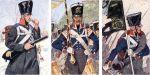 Pruscy żołnierze z okresu wojen z Francją 1813-1815. Kolejno żołnierze braniewskich jednostek:  muszkieter 4. Ostpreußisches Infanterie-Regiment (dawny Infanterie-Regiment Nr. 16), podoficer 2. Ostpreußisches Infanterie Regiment Prinz Heinrich i sztandarowy z 1 Ostpreussisches Nr. 1 (późniejszy Kronprinz)