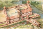 Braniewski zamek biskupi w swoim średniowiecznym kształcie według malarza z Braniewa Andrzeja Zielińskiego.