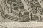 fragment południowej linii fortyfikacji miejskich na planie Pawła Stertzla z 1635 r.  Od lewej: bezimienna baszta, Wieża Młyna Kieratowego, baszta bezimienna, Wieża Katowska i bastion w murze zewnętrznym.