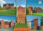 pocztówka z lat 90-tych XX w. oprócz Wieży Młyna Kieratowego (brak jeszcze współczesnego muru przy wieży), dworzec kolejowy, klasztor Zgromadzenia sióstr św. Katarzyny przy ul. Moniuszki, Wieża Klesza z basztą okrągła od strony Amfiteatru oraz najcenniejszy zabytek Wieża Bramna dawnego zamku biskupiego.