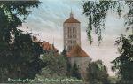 pocztówka z początku XX w.  z widokiem na kościół św. Katarzyny. Przed kościołem Wieża Młyna Kieratowego, wówczas Klasztorna